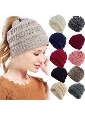 Product Image Women Beanietail Messy Bun Ponytail Knitted Beanie Skull Winter  Hat Lot 201424e37392