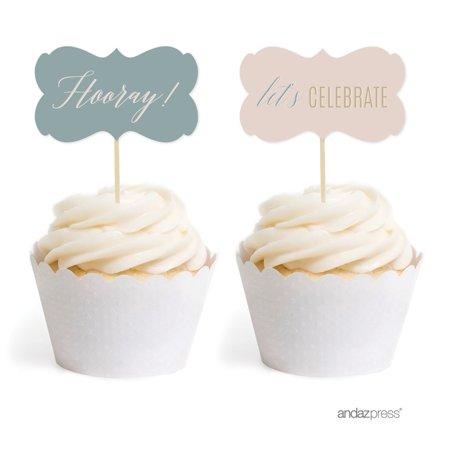 Signature Rustic Pastels Party, Fancy Frame Cupcake Toppers, 18-Pack