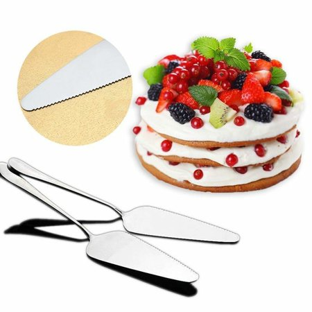 KABOER 2X Stainless Steel Cake Toothed Shovel Pie Pizza Cheese Server Cutting Gift India Stainless Cake Server