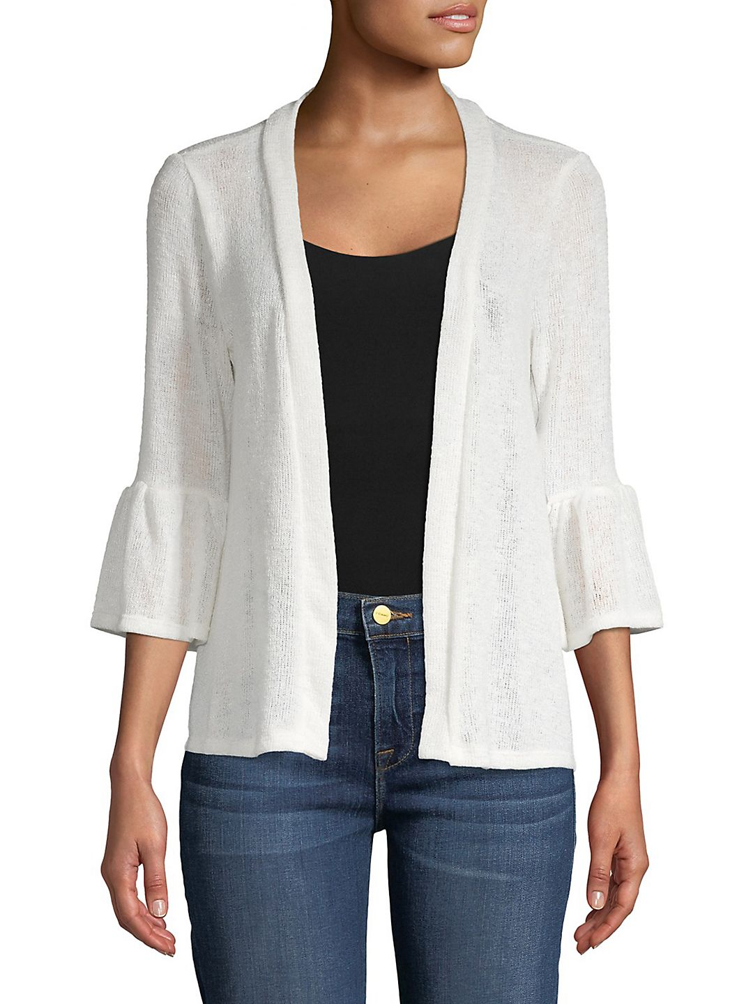 Three-Quarter Bell-Sleeve Cardigan