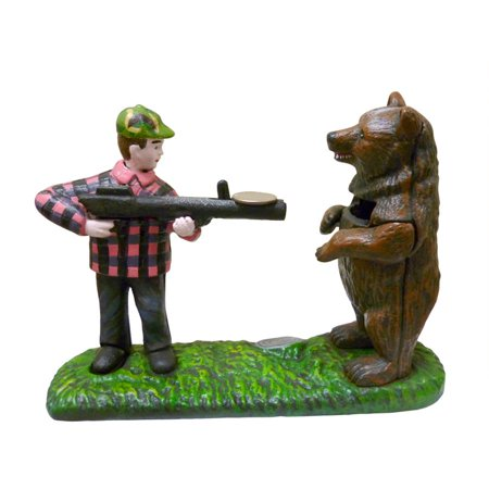 Bear Hunt Collectors' Die Cast Iron Mechanical Coin Bank