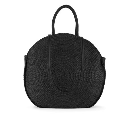 Time & Tru Straw Circle Tote