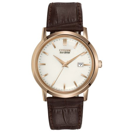 Eco Drive Men's BM7193-07B Brown Leather Strap with Ivory Dial Watch