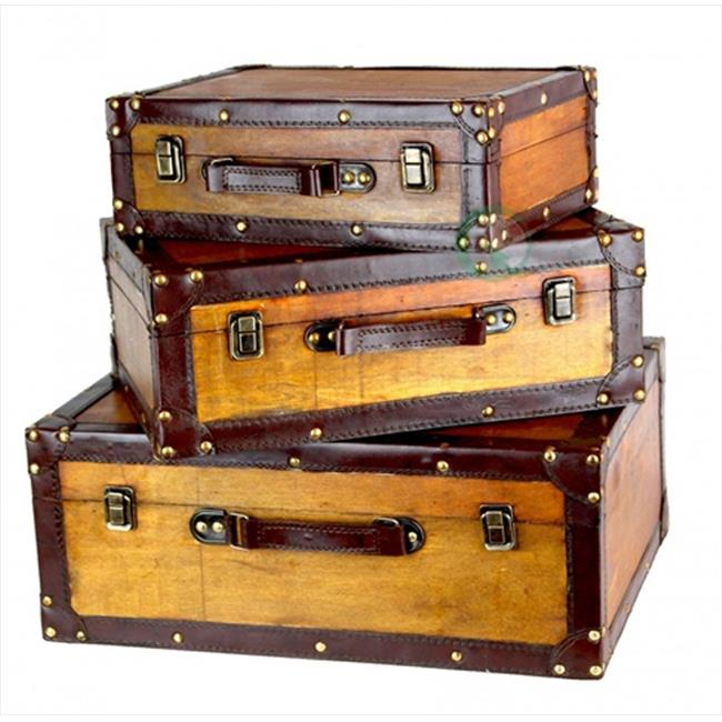 Quickway Imports QI003057. 3 Old Vintage Suitcase Set of 3