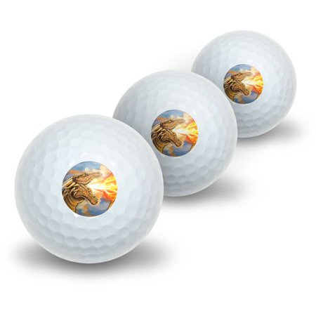 Golden Dragon Breathing Fire Fantasy Medieval Novelty Golf Balls, 3pk