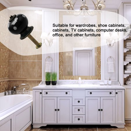 Ceramic Knob Pull Handle Dresser Cupboard Wardrobe Cabinet Accessories Black - image 2 de 7