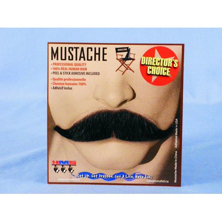 Sophisticated Black Real Human Hair Adult Costume Moustache](Sophisticated Halloween)