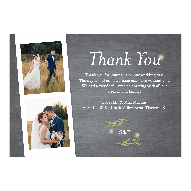 Personalized Wedding Thank You Card Greenery Lights 5 X 7 Flat