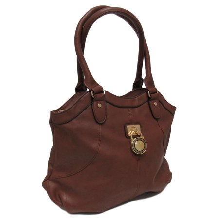 Fashion Handbag - Purse - Tote in Brown Faux Leather with Decorative Front Piece