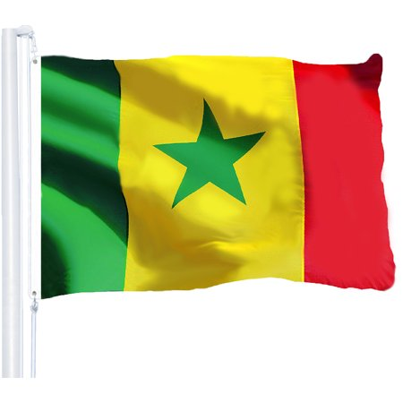 G128 - Senegal Senegalese Flag 3x5 ft Printed Brass Grommets 150D Quality Polyester Flag Indoor/Outdoor - Much Thicker and More Durable than 100D and 75D