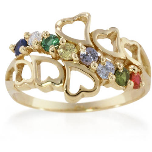 Keepsake Personalized Family Hearts Mother's Birthstone Ring available in 10kt Gold and 14kt Gold