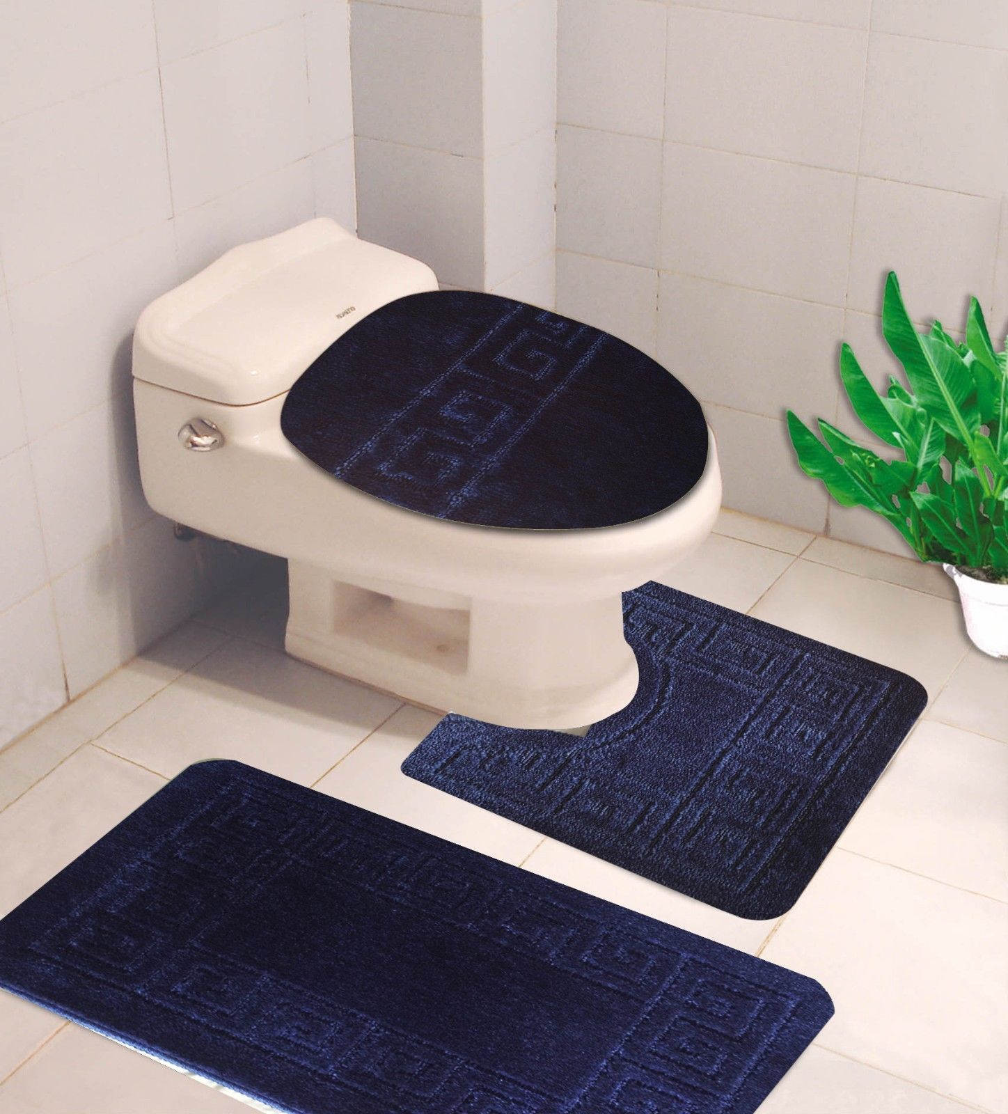 """#10  Navy Blue 3-Piece Embossed Bathroom Mat Set, Solid Large Rug 19""""x 30"""", Contour Mat 19""""x19"""", and Toilet Lid Cover 19""""x19"""" with Non-Skid Rubber Back"""