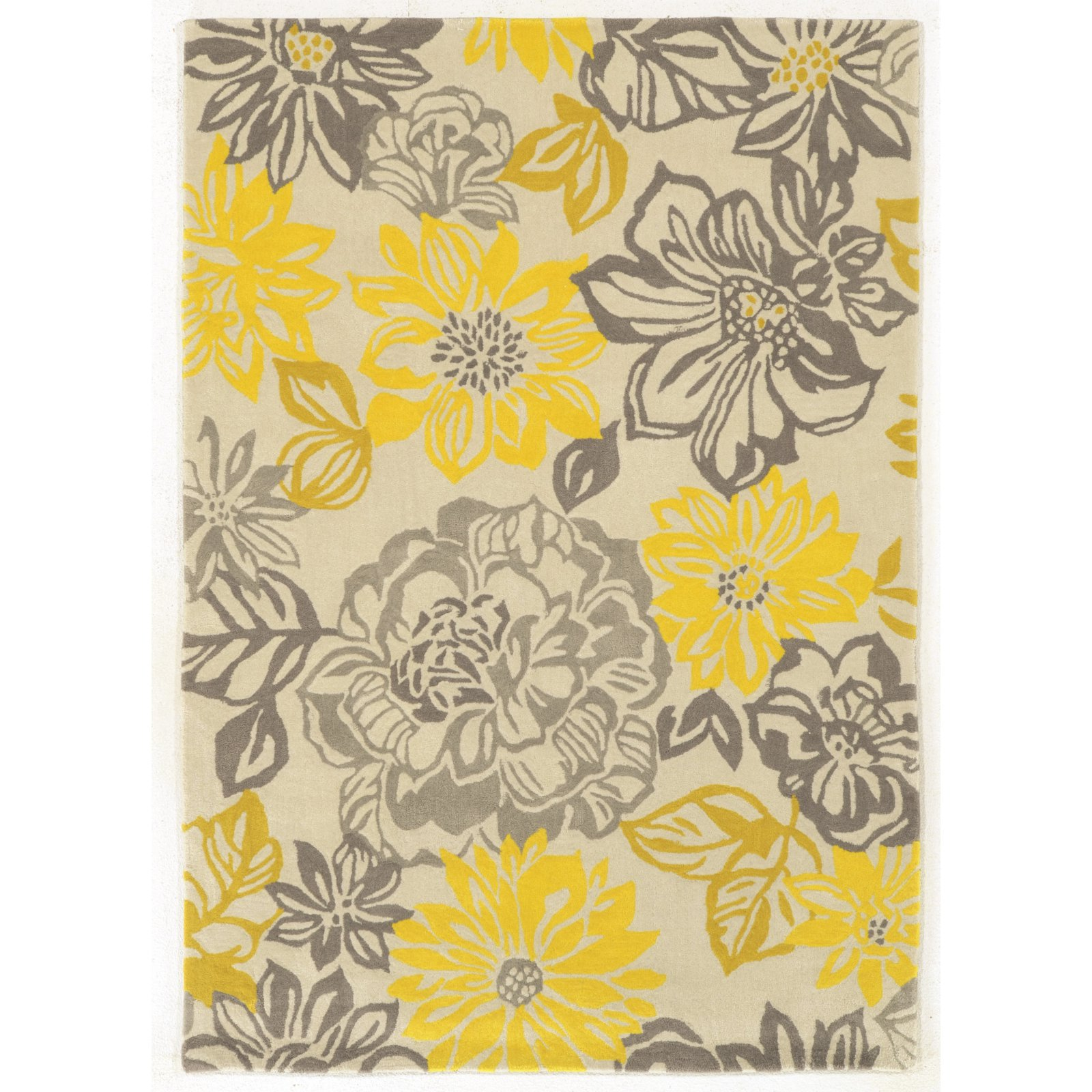 Linon Trio Collection Beige Floral Indoor Area Rug