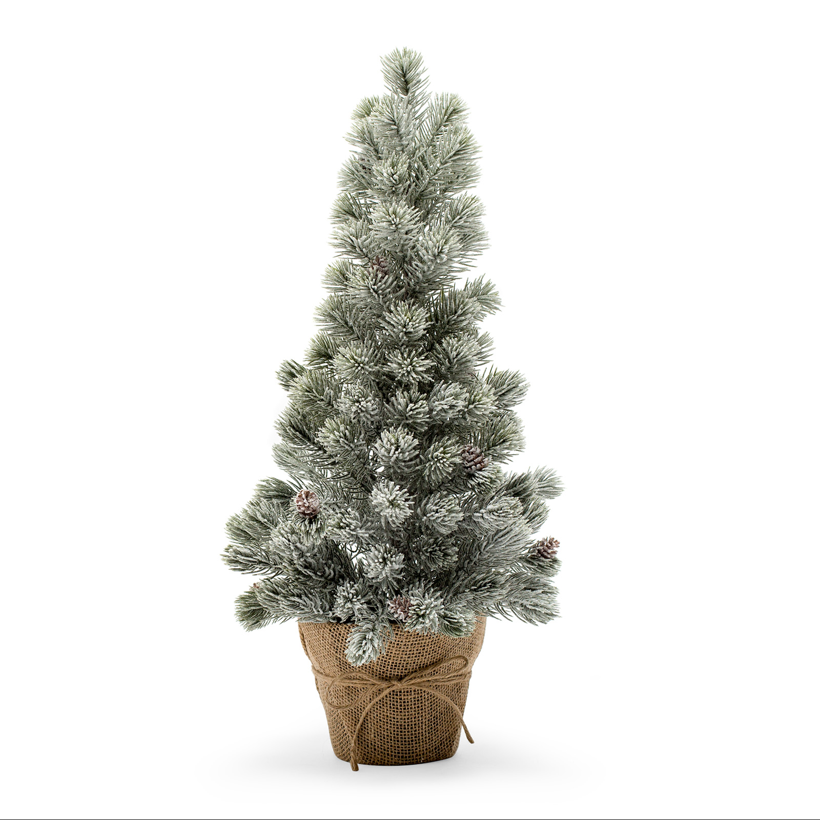 Belham Living 2ft Flocked Christmas Tree with Pine Cones and Burlap Base