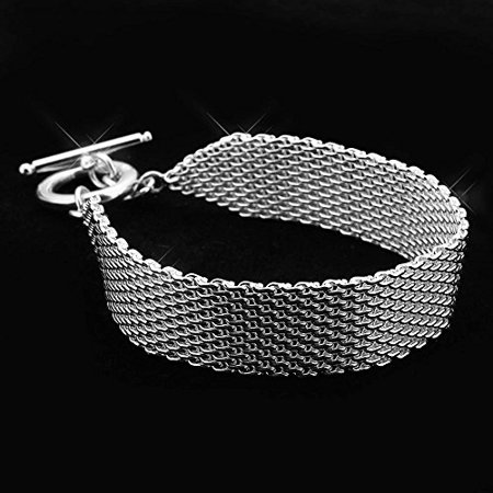 Fashion 925 Sterling Silver Jewelry Plated Soft Mesh Bracelet Chain Couple Bangles for Women Men
