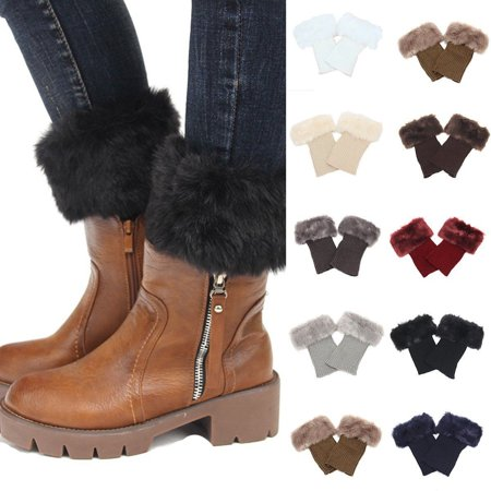Women Faux Fur Trim Knitted Winter Leg Warmers  Boot Socks Topper Cuffs