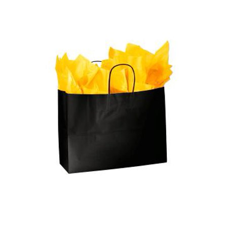 """Large Glossy Black Paper Shopping Bags - 16""""L x 6""""D x 12 ½""""H - Case of 100 Large Black Glossy Paper Shopping Bags are the perfect way to add a touch of upscale packaging to your retail store. Featuring a bold glossy finish with a white interior these shopping bags are perfect for any boutique or retail store.  Add some tissue paper and ribbon and you have an instant gift bag. Sold in cases of 100 bags."""