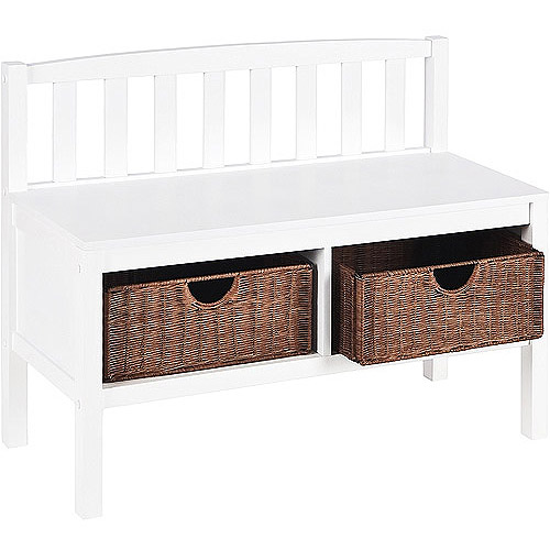 SEI - White Bench with Basket Storage