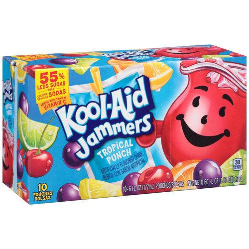 Kool-Aid Jammers Tropical Punch Drink, 6 fl oz, 10 count