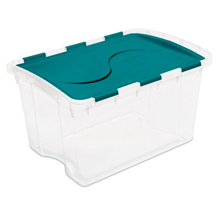 Sterilite 48 Quart Single Unit Teal Sachet Hinged Lid Storage Box ()