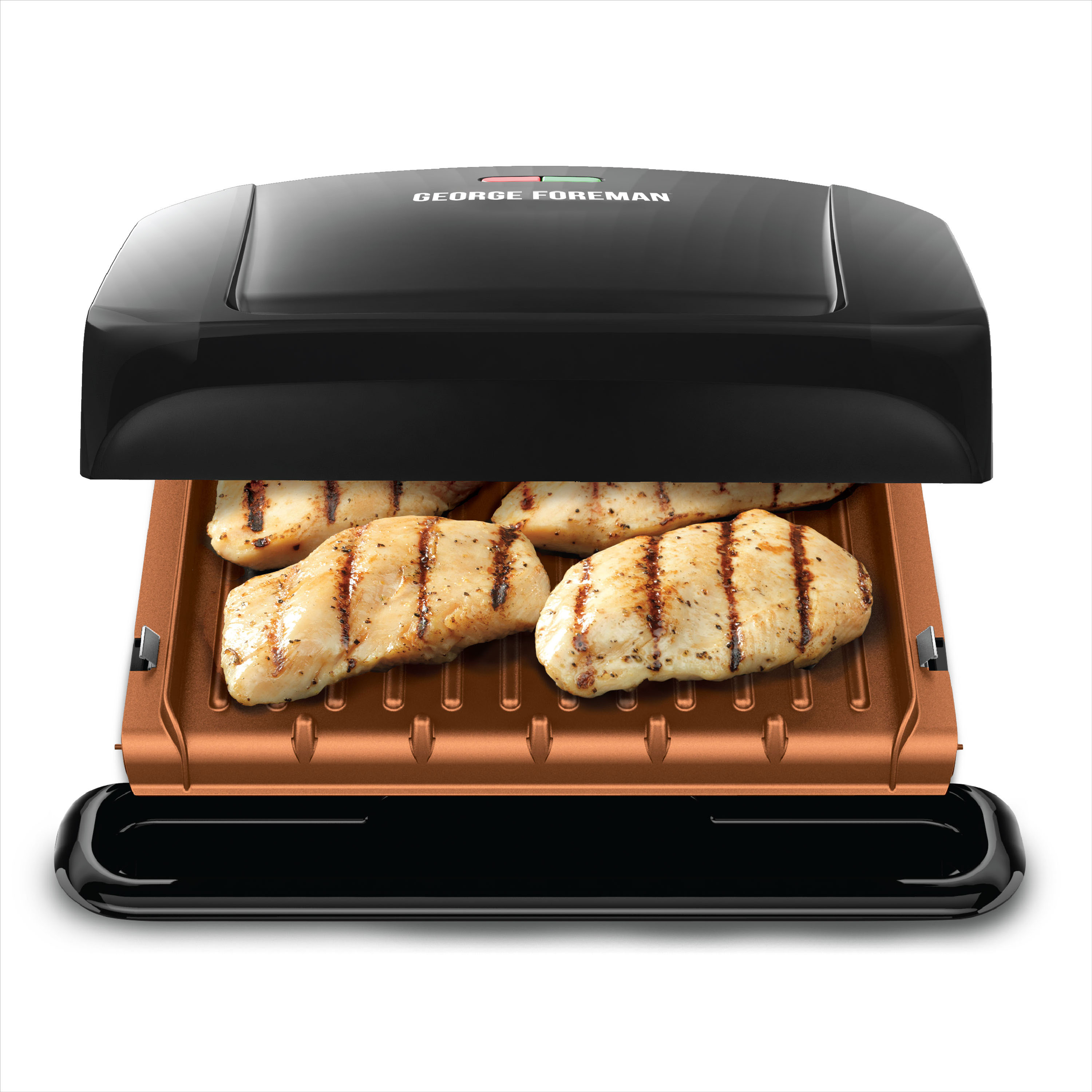 George Foreman 4-Serving Copper Color Removable Plate Grill, Electric Indoor Grill and Panini Press, Black/Copper, GRP460BXC