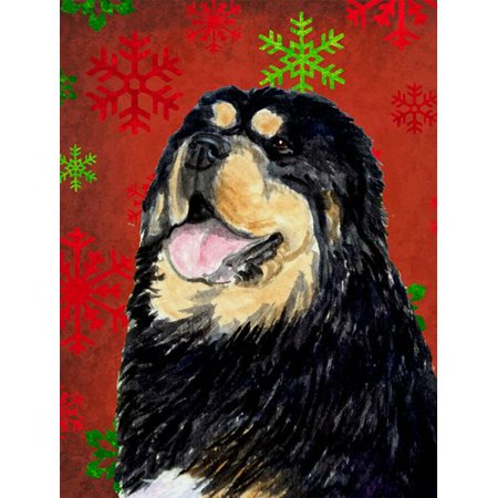 Tibetan Mastiff Red Green Snowflake Christmas Flag