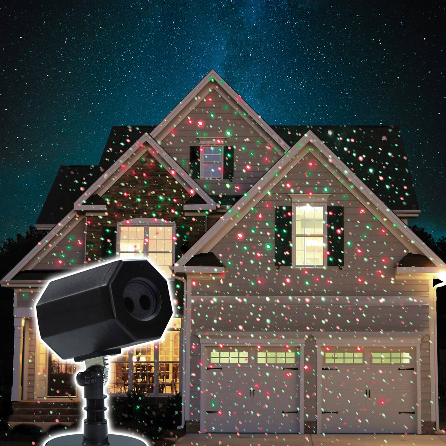 Christmas Animated Stars Laser Light with Timer & Memory, Red/Green