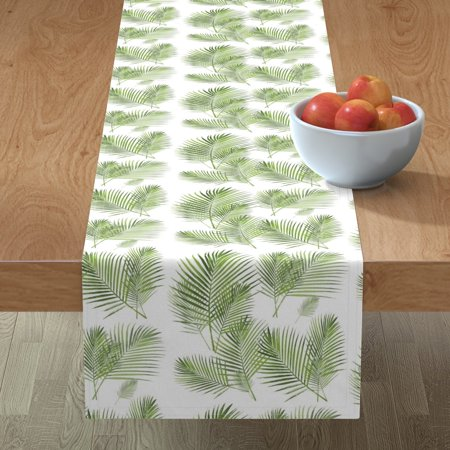 Image of Table Runner Palm Frond Areca Palm Palm Leaf Banana Leaf Green Cotton Sateen