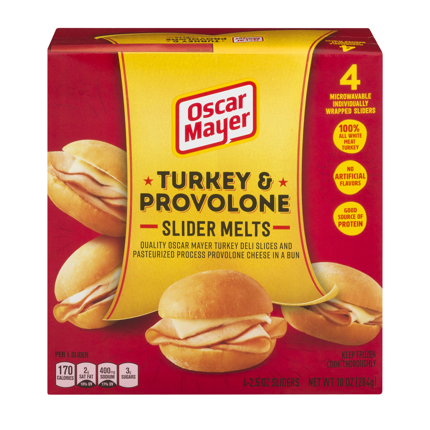Oscar Mayer Turkey & Provolone Slider Melts, 2.5 oz Sliders, 4 Count