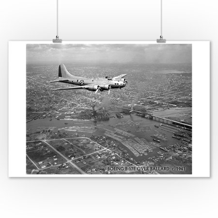 Seattle Flying Dragons (Seattle, WA - B-17F flying over Ballard (9x12 Art Print, Wall Decor Travel)