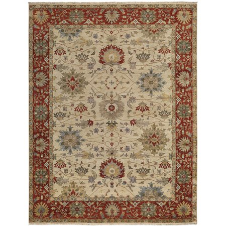 Capel Rugs Brandon Hand Knotted Cream Red Area Rug