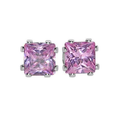 Precious Stars E66SSTP 6 mm Silvertone Square-cut Cubic Zirconia Fashion Stud Earrings, Pink - image 1 of 1