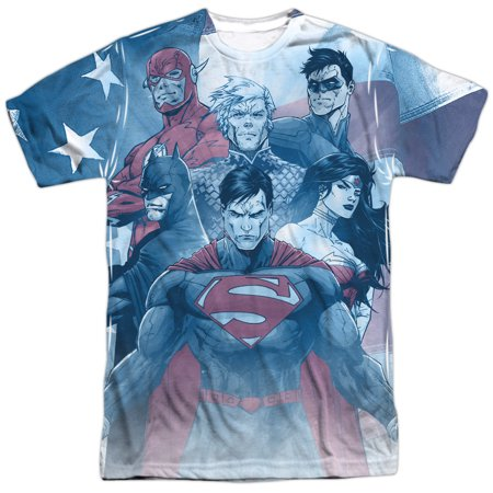 Justice League JLA DC Comics United American Heroes Adult 2-Sided Print T-Shirt (American Indians American Justice)