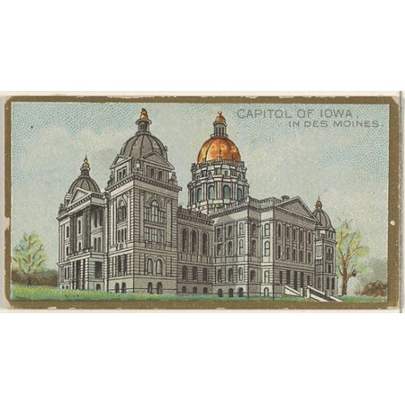 Iowa State Capitol Building - Capitol of Iowa in Des Moines from the General Government and State Capitol Buildings series (N14) for Allen & Ginter Cigarettes Brands Poster Print (18 x 24)