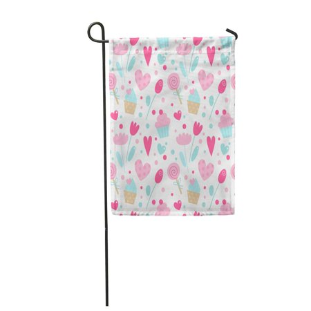 SIDONKU Blue Pattern Cute Hearts Cakes Sweets and Flowers Cartoon for Valentine Day Pink Garden Flag Decorative Flag House Banner 12x18 inch