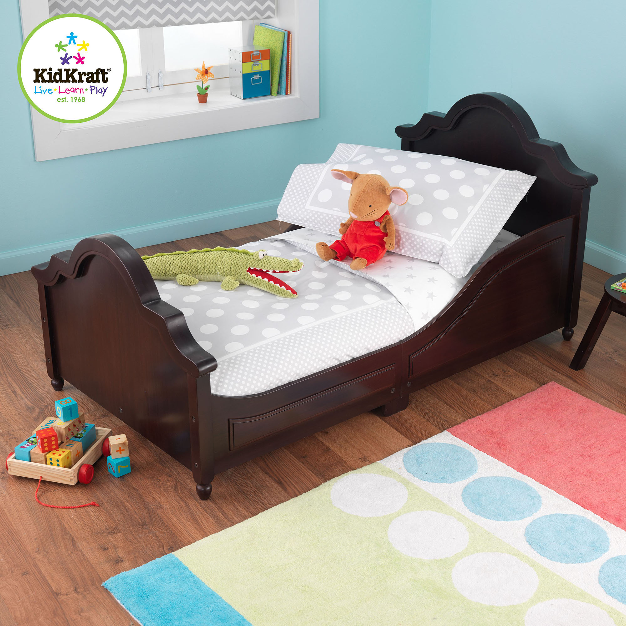 KidKraft Spots and Dots Gray 4-Piece Toddler Bedding Set