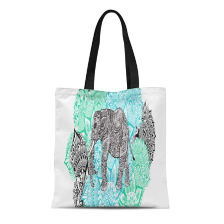 LADDKE Canvas Tote Bag Henna Boho Paisley Elephant Handdrawn Pastel Floral Tribal Ethnic Reusable Handbag Shoulder Grocery Shopping Bags