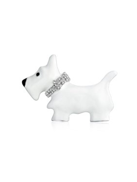 a9eb5f026 Product Image Large White Westie Scottie Terri Dog Pet Animal Brooch Pin  For Women Crystal Collar Silver Tone