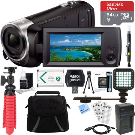 Sony HDR-CX405/B Full HD 60p Camcorder + 64GB Ultra MicroSDXC UHS-I Memory Card + NP-BX1 Battery Pack + Accessory Bundle ()