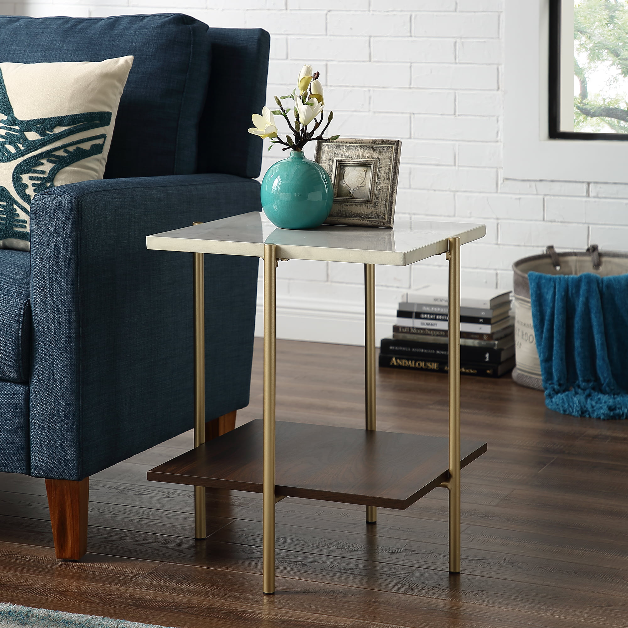 "Manor Park 20"" Mid-Century Modern Square Side Table Marble Gold by Manor Park"