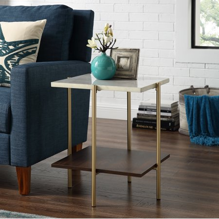 Manor Park Mid-Century Modern Square Side Table - Marble / Gold
