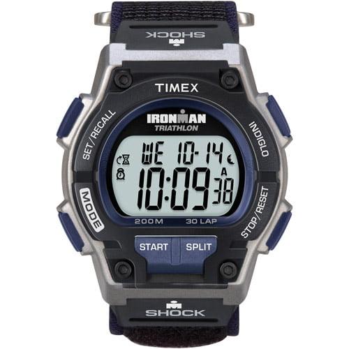 Timex Men's Ironman Original 30 Shock Full-Size Watch, Black Fast Wrap Velcro Strap