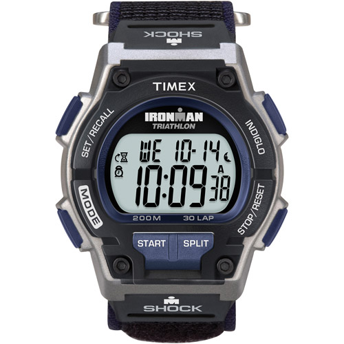Timex Men's Ironman Original 30 Shock Full-Size Watch, Black Fast Wrap Velcro Strap