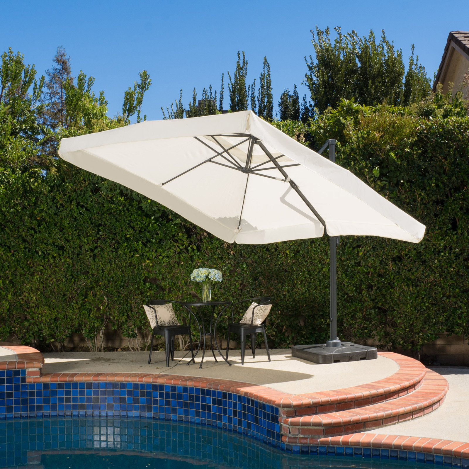 Merida 10 ft. Beige Cantilever Off-Set Patio Umbrella