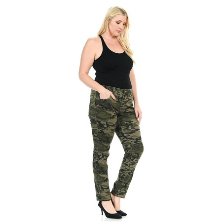Sweet Look Womens Plus Size Stretch Jeans Army Style Camo Camouflage Skinny  Denim Pants