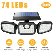 Solar Wall Lamp, 74 LED Solar Flood Light IP65 Waterproof Wireless Solar Motion Sensor Lights Outdoor Spotlight 3 Adjustable Head 270 Wide Angle Illumination Security Light- Garage Yard Garden Patio