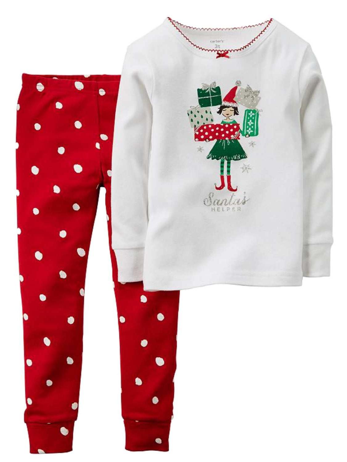 Carters Infant Toddler Girls Santas Helper Elf Holiday Pajama 2 PC Sleep Set