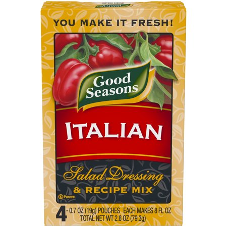(2 Pack) Good Seasons Italian All Natural Salad Dressing & Recipe Mix, 4 - 0.7 Oz (Make Your Own Good Seasons Italian Dressing)