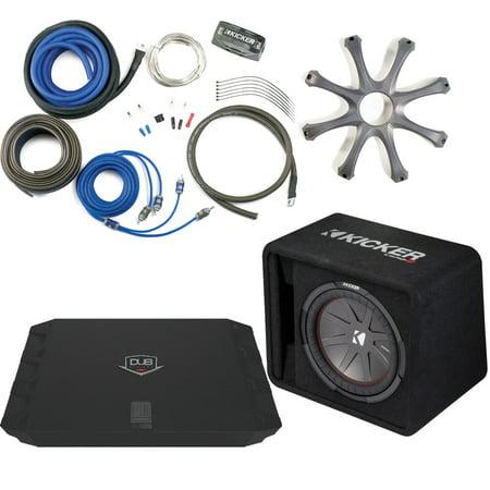 Kicker 43VCWR122 Comp R ported enclosure w/ Crunch PX2000.1D 2000 Watt Max Mono Amp, Wiring Kit, grille, and Bass Knob.