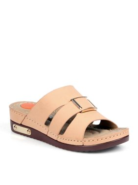 ec888fef58b311 Product Image Comfeite Side Slits Women s Slip On Sandals in Camel